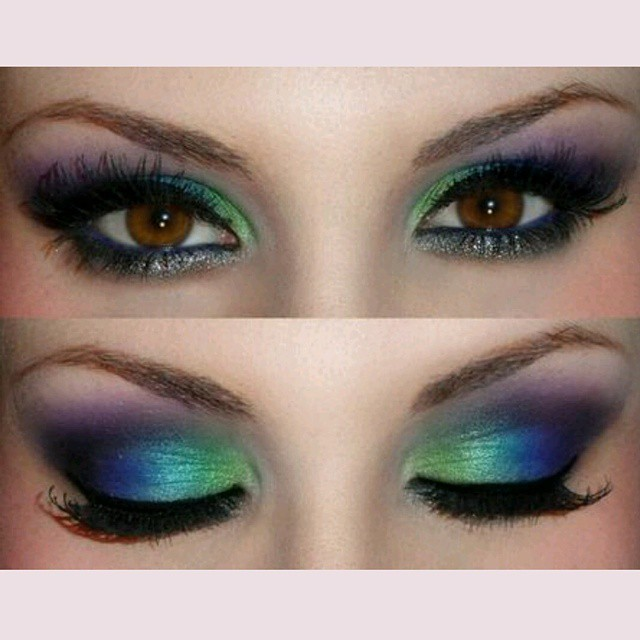 rainbow regenbogen bunt pfau peacock eye eyes eyeshadow eyeliner eyemakeup augen. Black Bedroom Furniture Sets. Home Design Ideas