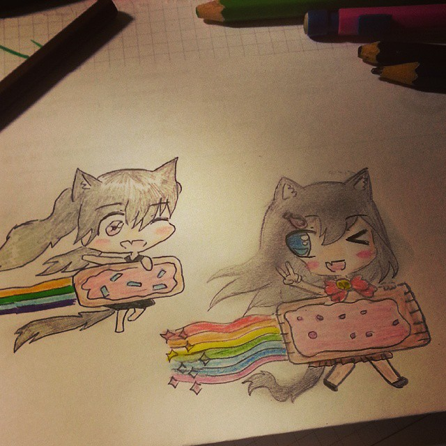 Nyan cat dessin draw drawing colorier dessins kawaii chibi manga fille girl - Manga 0 colorier ...