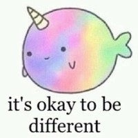 Mr. Narwhal loves you just the way you are. ^-^ #narwhal #cheerup #kawaii #cute #cuteness #adorable #rainbow #different #iloveyouforyou #beyourself