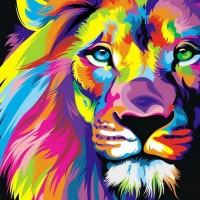Be like a cool colorful Lion. #Colorful #Lion #Artwork #Rainbow