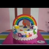 Torta Arcoiris y Mariposas #maryscakes #reposteria #riohacha #laguajira #guajira #tortas #cakes #cake #fondant #arcoiris #mariposas
