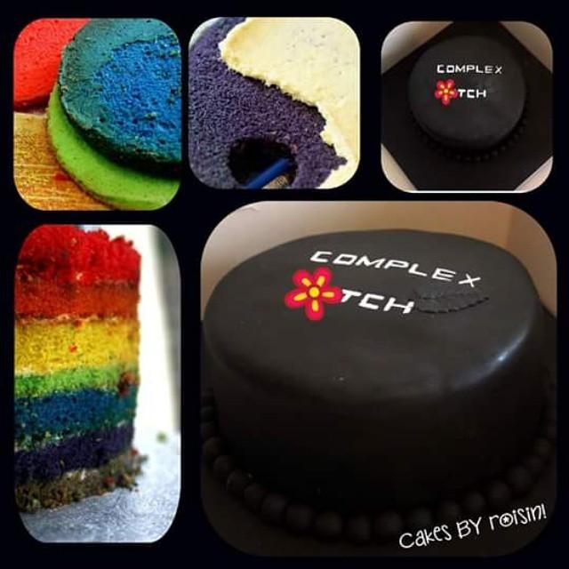 Black Rainbow Cake Vanilla Buttercream Fondant Custard