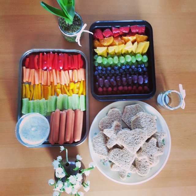 Rainbow Brunch Kindergarten Birthday Regenbogen Obst Gemuse