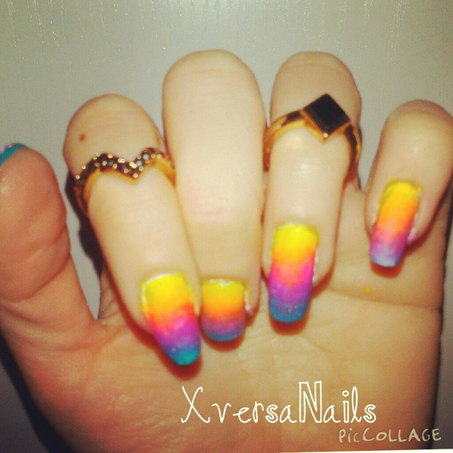 Mani Of Today Nails Nailart Rainbow Gradient Yellow