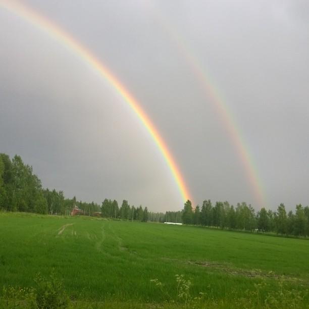Tänää upea sateenkaari. :) #rainbow #sateenkaari #valokuvaus #valokuvaaminen #picture #photography #photographing #rain #summer #pelto