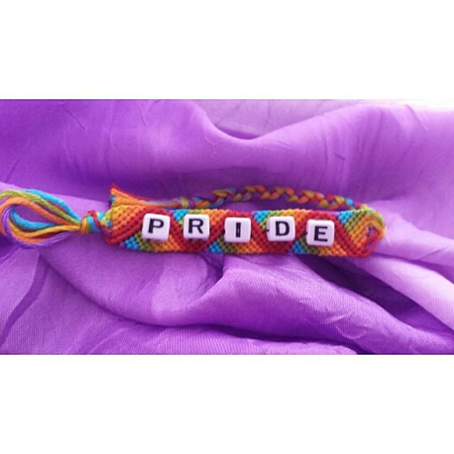 Just finished @homie.o.stasis bracelet! If youd like one, please DM me! #pride #rainbow #handmade #friendshipbracelet #follow