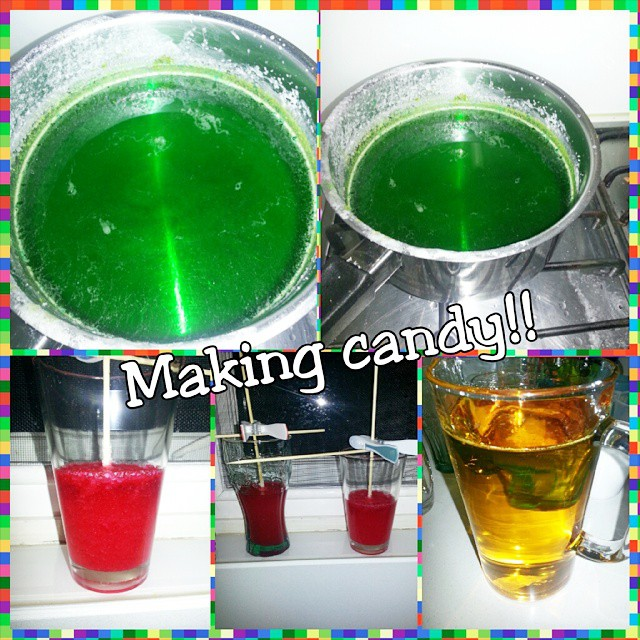 Making candy!!!! 🍬🍭🍬🍭 #candy #sugar #somuchsugar #yum #brightcolours #rainbow #strawberry #homemade #rockcandy #fun :D