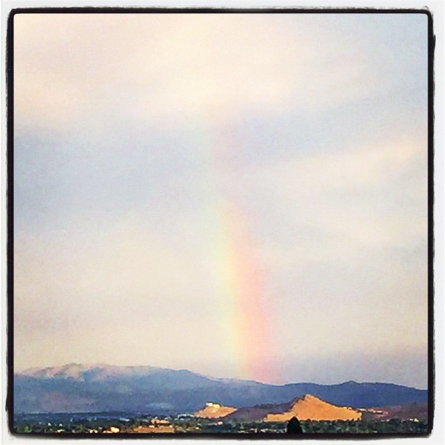 I found a #rainbow today! Didnt see any #rain, but I found a rainbow 😊😍😁 Does that make it more #special ?? #MotherNature #beauty #happiness #love #peace #clouds #sky #blueskies #Reno #775 #random #randomness #iPhone #pretty #found #colors 🌈❤️💛💚💙💜
