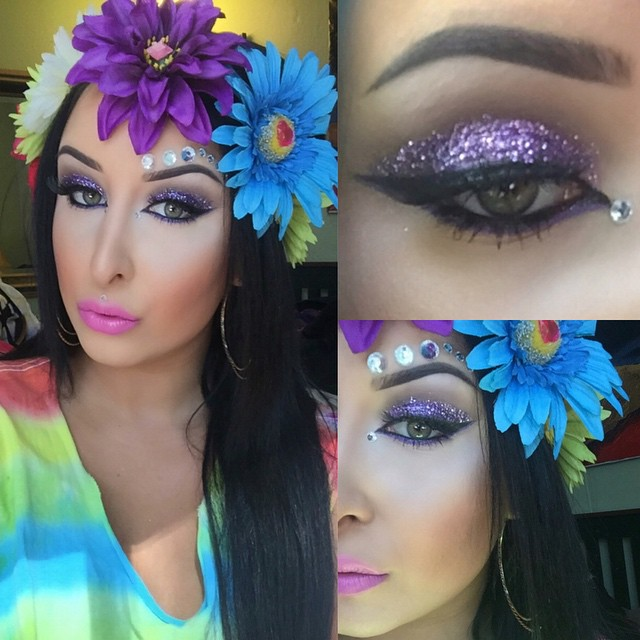 SF pride2k15 makeup! ❤️💛💚💙💜 #sfpride #glittermakeup #glitter #purple #flowers #motd #lipstick #jewels #purpleglitter #purpleglittermakeup #contour #jeweledmakeup #brows #dipbrow #rainbow #lashes #mua #916makeup