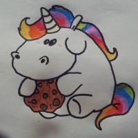 Hier @swantjeholm Das Einhorn♥ :D #Pony #Pferd #Einhorn #Regenbogen #Cookie #Keks #Mähne #Schweif #horse #rainbow #unicorn #eat #bunt #white #colourful #zeichnen #malen #crapwaer #pummelchen