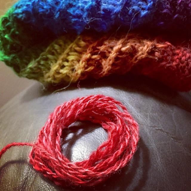 phew! #yarnchicken #knitting #handspun #lovewins #rainbow